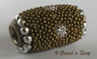 Bead Studded with Dark Golden Grains & Silver Flower