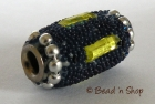 Bead with Dark Blue Grains & Yellow Stone