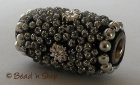 Black Bead with Glittering Silver Grains & Silver Flower