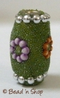 Bead Studded with Green Grains & Multi-color Flowers
