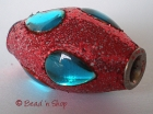 Red Glitter Bead Studded with Blue Shaped Cabochons