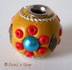 Yellow Bead Studded with Glass & Seed Beads