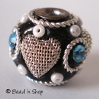 Black Bead Studded with Seed Bead & Heart Design Metal