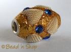 Golden Glitter Bead Studded with Rhinestone & Heart Shape Metal