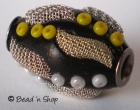Black Bead Studded with Seed Bead &  Metal Design