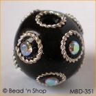 Black Bead Studded with Wire-bordered  Rhinestones