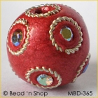 Shinning Red Bead Studded with Wire-bordered Rainbow Rhinestones
