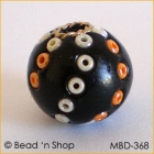 Black Bead Studded with White & Orange Seed Beads
