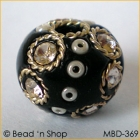 Black Bead Studded with Wire-bordered Rhinestone & Seed Beads