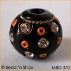 Black Bead Studded with Rhinestones & Seed Beads
