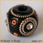 Black Bead Studded With Double Wire-bordered Rhinestones & Seed Beads