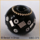 Black Bead Studded with Mirrors & White Seed Beads
