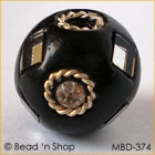 Black Bead Studded with Mirrors & Wire-bordered Rhinestones