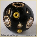 Black Bead Studded with Rhinestones Mirrors & Yellow Seed Beads