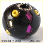 Black Bead Studded with Mirrors, Seed Beads & Wire-rings