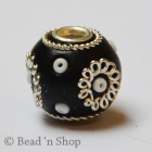 Black Bead Studded with Metal Designed Ring & Seed Beads