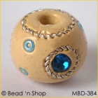 Cream-color Bead Studded with Blue Rhinestones & Seed Beads