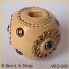 Cream-color Bead Studded with Wire-rings & Seed Beads