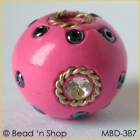 Pink Bead Studded with Wire-bordered Rhinestones & Seed Beads