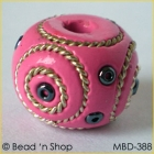 Pink Bead Studded with Double Wire-bordered Seed Beads