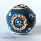 Blue Bead Studded with Blue Rhinestones