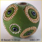 Green Bead Studded with Golden Bordered Seed Beads