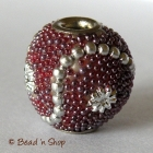 Bead with Red Grains & Silver Accessories