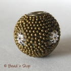 Dark Brown Grain Round Bead with Silver Flowers