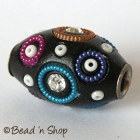 Black Bead Rimmed with Rhinestones & Accessories