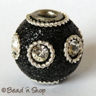 Black Glitter Bead Studded with Wire Rings & Rhinestones