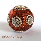Brown Glitter Bead Studded with Wire Rings & Rhinestones