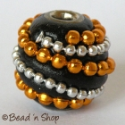 Round Black Bead with Silver  & Golden Ball Chain