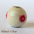 Off White Glitter Bead Studded with Red Flower