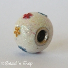 Shinning White Euro Style Bead Studded with Small Flowers