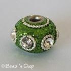 Green Glitter Euro Style Bead with White Rhinestones & Metal Rings
