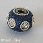 Blue Glitter Euro Style Bead with White Rhinestones & Metal Rings