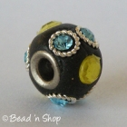 Black Euro Style Bead Studded with Rhinestones