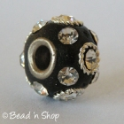 Black Pandora Bead Studded with White Rhinestones and Metal Rings
