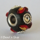 Black Euro Style Bead Studded with White Rhinestones and Accessories