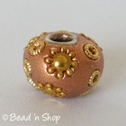 Shinning Brown Euro Style Bead Studded with Golden Flowers & Accessories