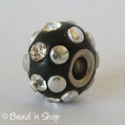 Black Euro Style Bead Studded with Rhinestones and Silver Cabochons