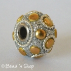 Silver Glitters Euro Style Beads with Golden Round Cabochons