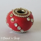 Red Euro Style Bead Studded with Small Silver Cabochons