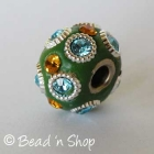 Green Euro Style Bead Studded with Rhinestones and Metal Rings