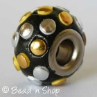 Black Euro Style Bead Studded with Silver & Golden Cabochons
