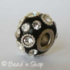 Black Euro Style Bead Studded with Rhinestones and Metal Rings
