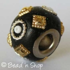 Black Pandora Bead Studded with Seed Beads and Accessories