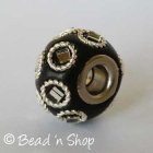 Black Euro Style Bead Studded with Glass Chips & Metal Rings