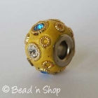 Yellow Euro Style Bead Studded with Rhinestones and Golden Metal Rings