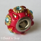 Red Euro Style Bead with Rhinestones and Embellishments